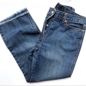 J. Crew High Rise Raw Hem Cropped Mom Jeans